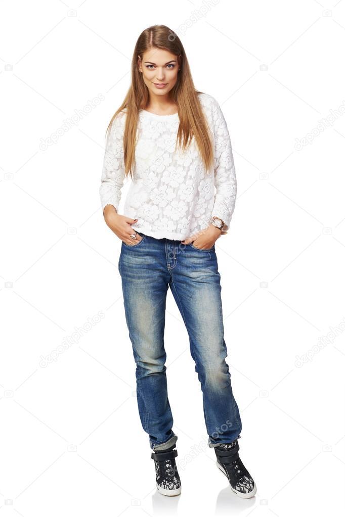 Full pic girl Full Body Smiling Woman Stock Photo By C Pavel Kolotenko 57834083