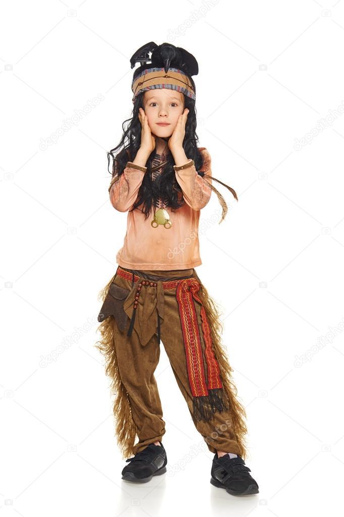 Little boy wearing indian costume u2014 Stock Photo  sc 1 st  Depositphotos & Little boy wearing indian costume u2014 Stock Photo © pavel_kolotenko ...