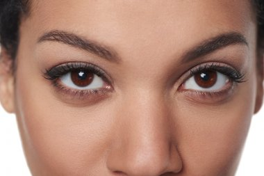 Cropped closeup image of female brown eyes