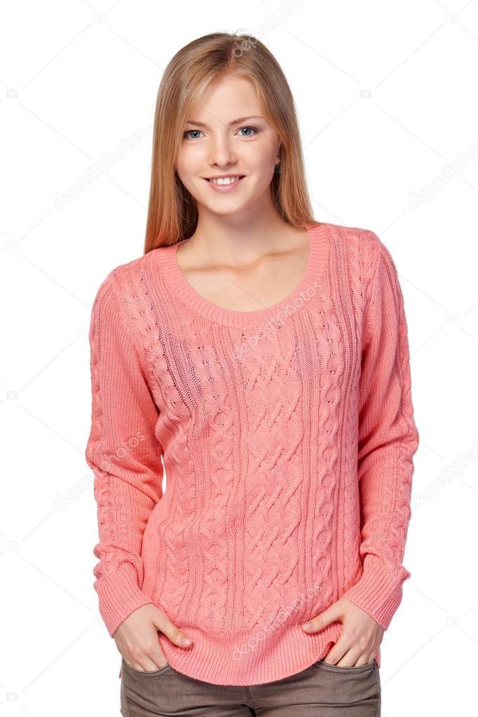 a950c0fc98cc9 Mujer en suéter rosa — Fotos de Stock © pavel kolotenko  86216802