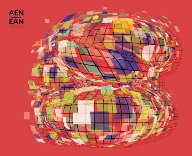 Square pixel mosaic distorted shape. Transparent overlapping squatters create dynamic movement effect. Abstract air balloon vector background
