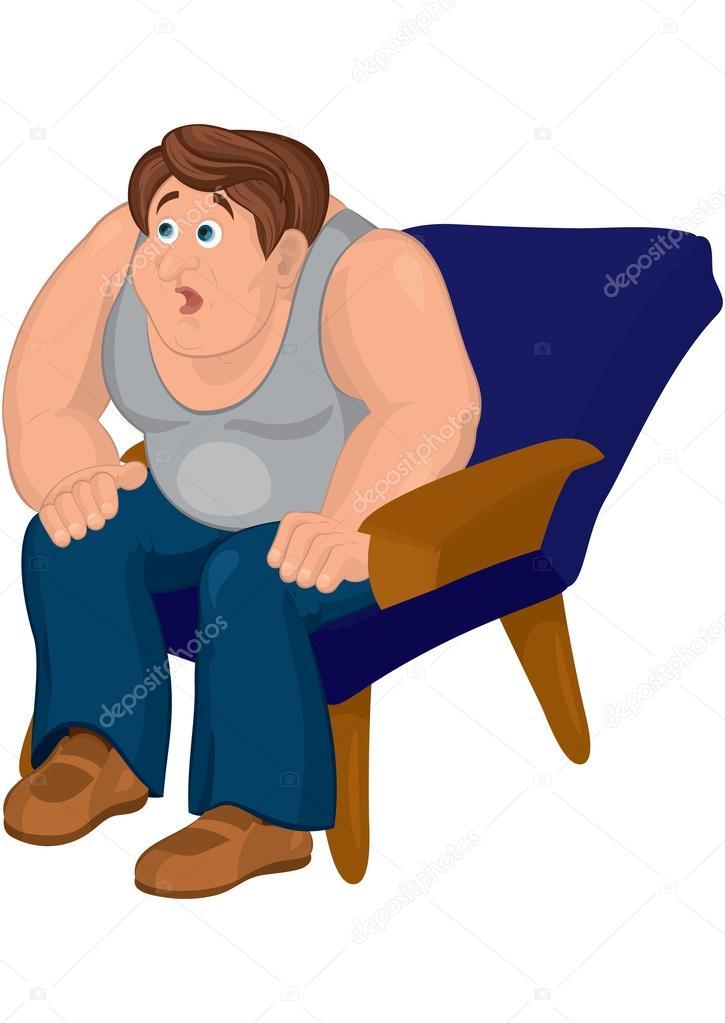 Homme De Dessin Anime En Gris Haut Assis Dans Un Fauteuil Bleu Avec