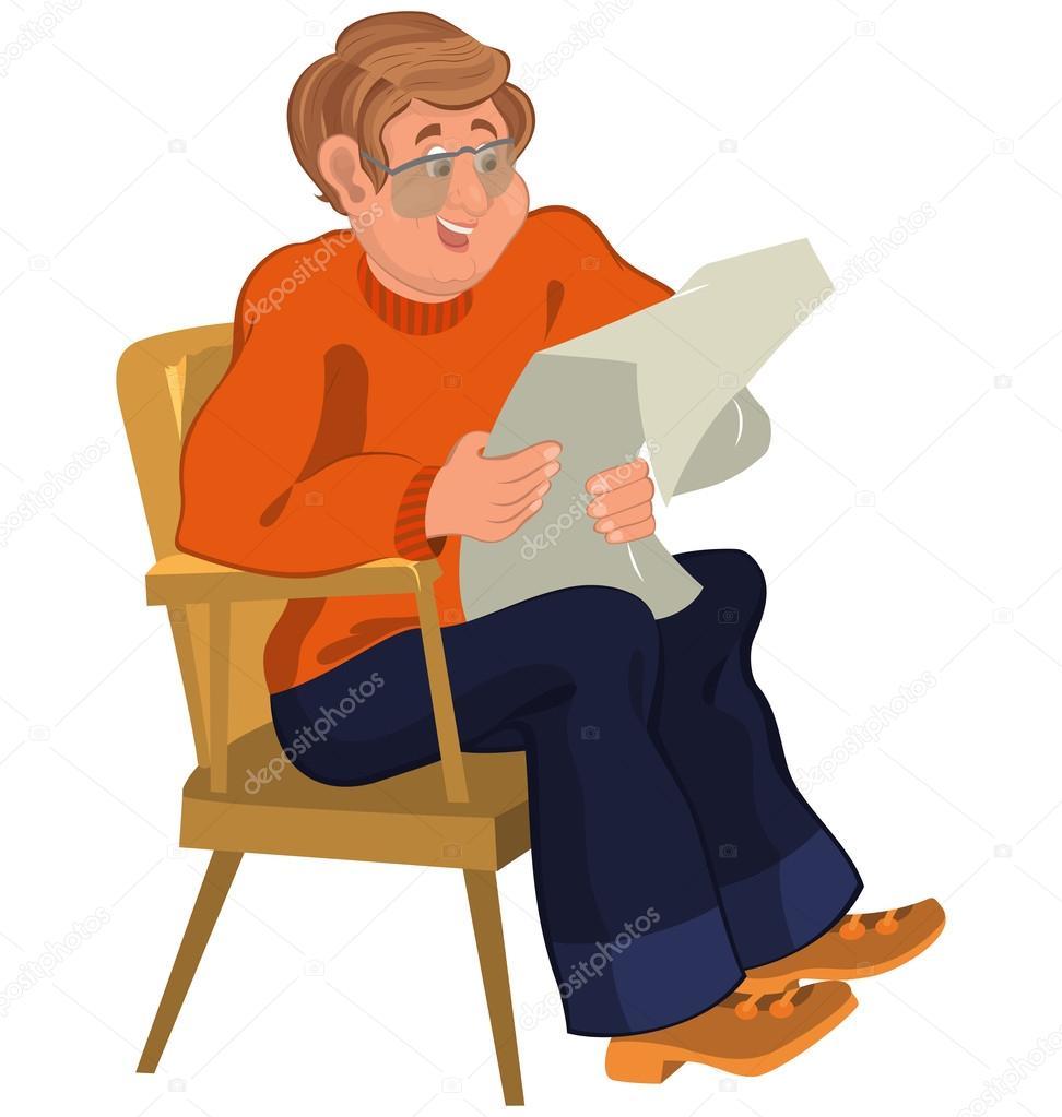 Sessel comic  glücklich Cartoon Mann sitzt im Sessel in orange Pullover lesen ...