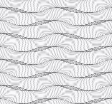 Repeating ornament of many gray horizontal wavy lines