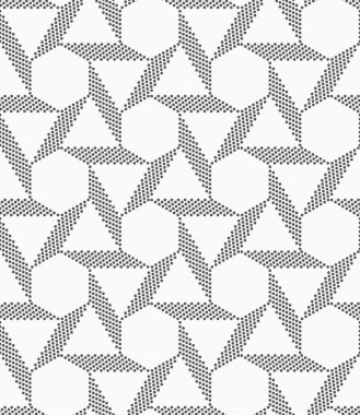 Monochrome striped blocks forming triangles and hexagons