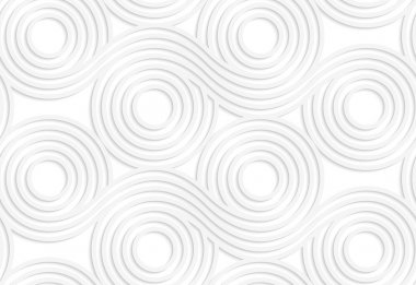 White paper background. Seamless patter with cut out paper effect. Realistic shadow creates 3D modern texture.Paper white merging rolling spools. clip art vector
