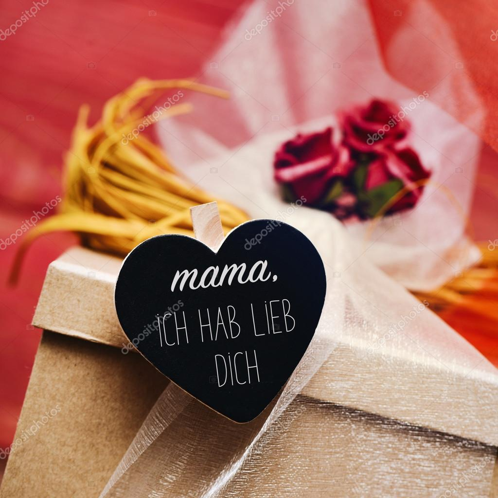 Text Mama Ich Hab Lieb Dich I Love You Mom In German Stock Photo