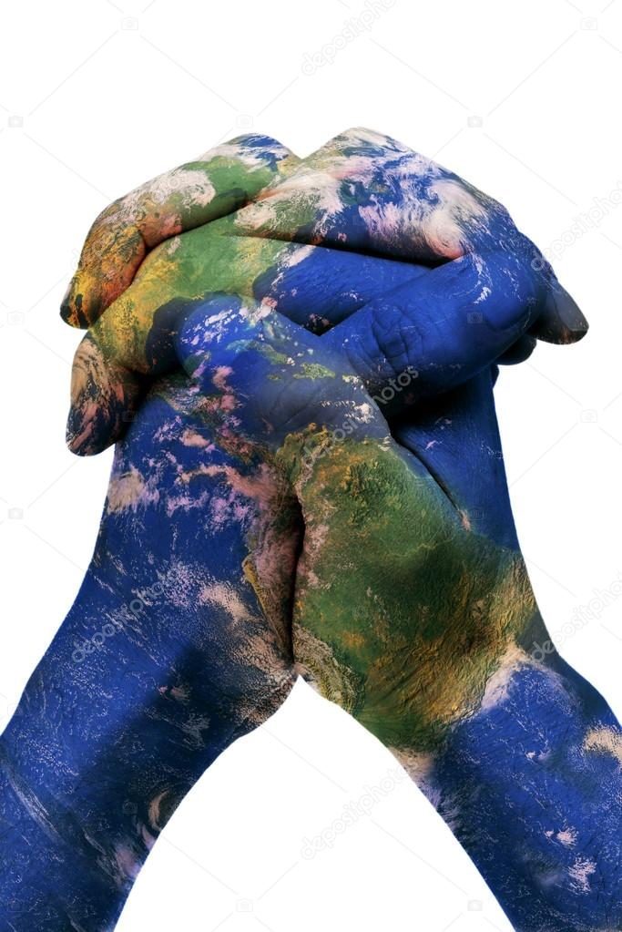 The World In Your Hands Earth Map Furnished By Nasa Stock Photo