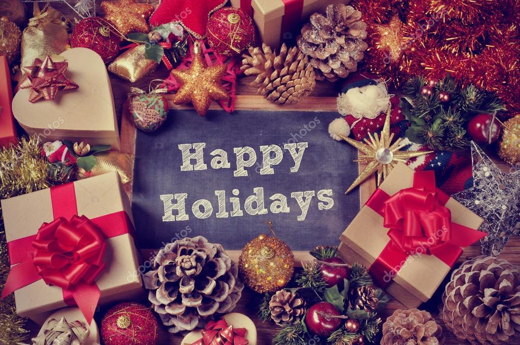 regali e ornamenti di natale e le vacanze felici testo