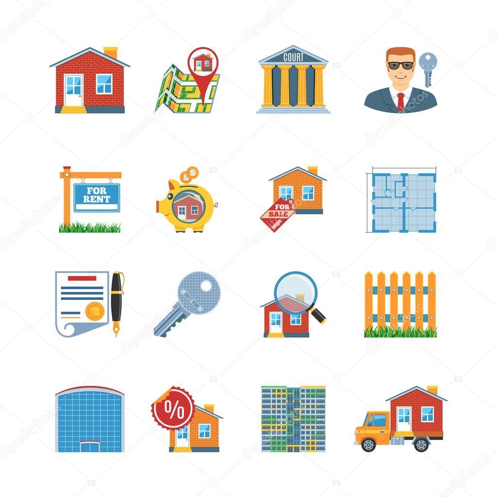 Real Estate Flat Design Icons