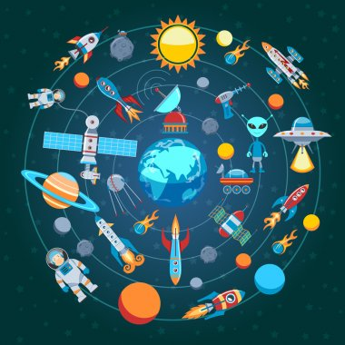 Circle Flat Composition Of Space Icons clip art vector