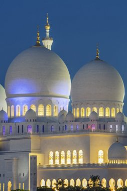Part of famous Abu Dhabi Sheikh Zayed Mosque by night