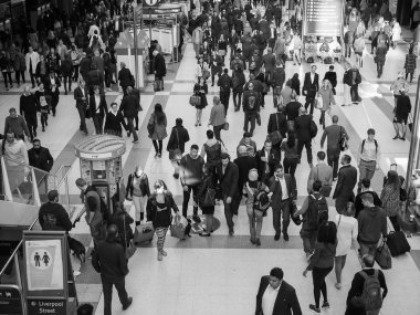 Liverpool Street station in London in black and white