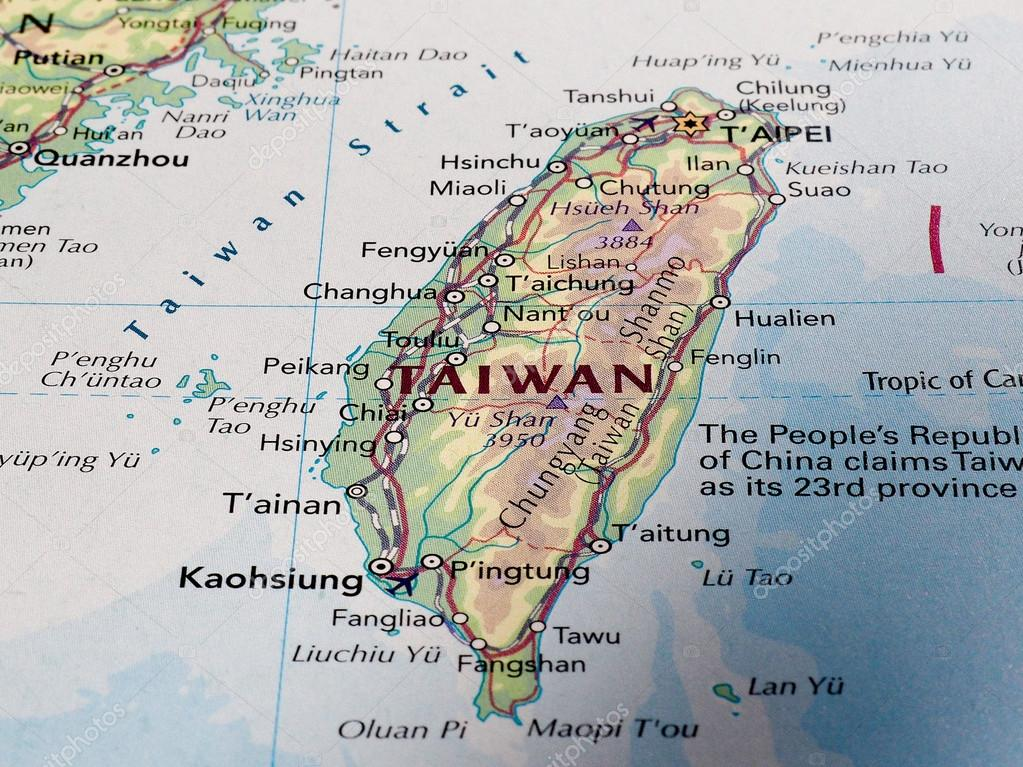 Map of Taiwan with selective focus Stock Editorial Photo