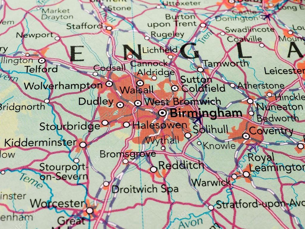 Birmingham Karte.Birmingham Karte Detail Mit Tiefenscharfe Redaktionelles