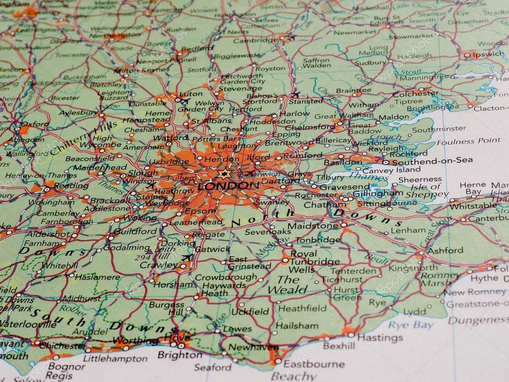 Karte London.London Karte Detail Mit Tiefenschärfe Redaktionelles Stockfoto