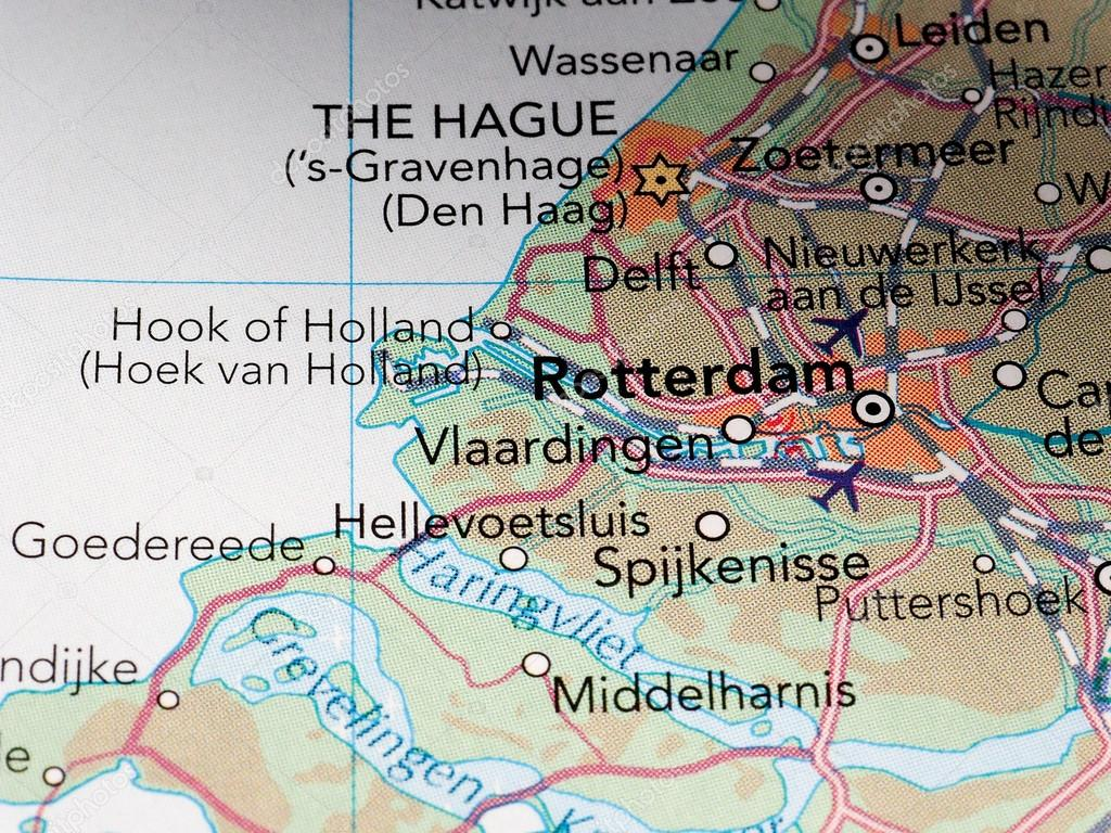 Rotterdam map detail with selective focus – Stock Editorial Photo ...