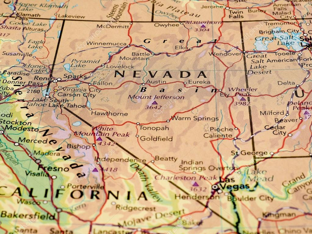 Nevada map of the state with selective focus – Stock Editorial Photo ...