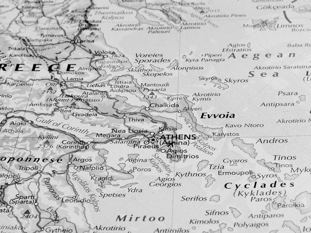 Karta Aten Grekland.Aten Karta Detalj Med Selektiv Inriktning Svart Och Vitt