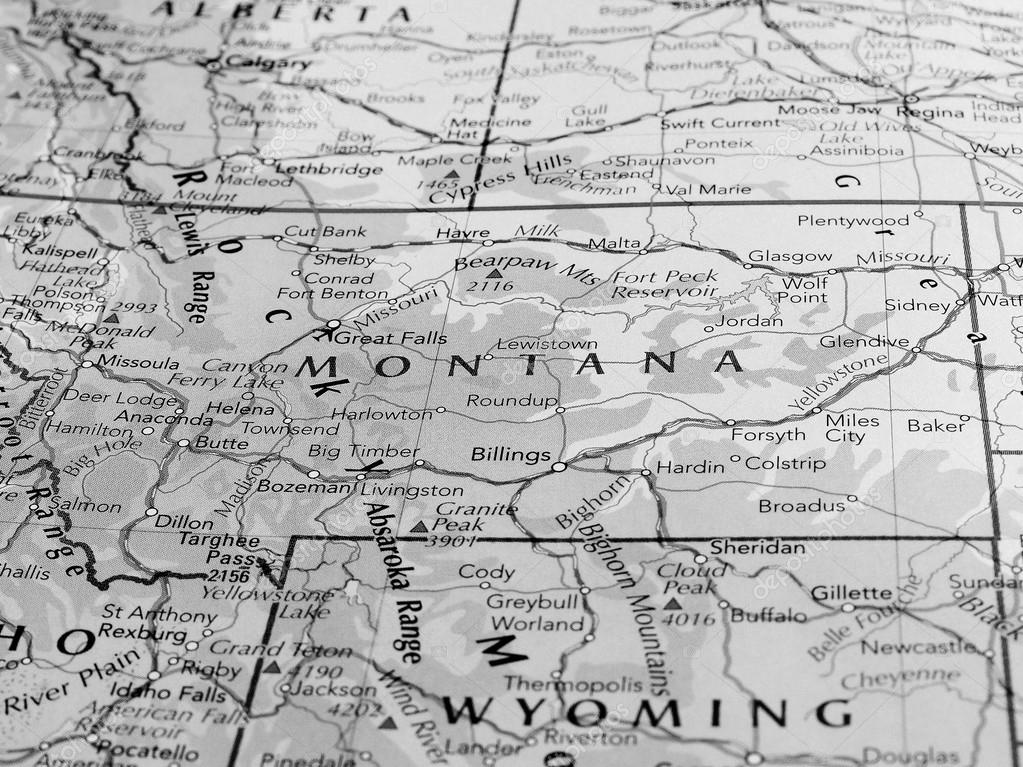 Map of the Montana state with selective focus black and white ...