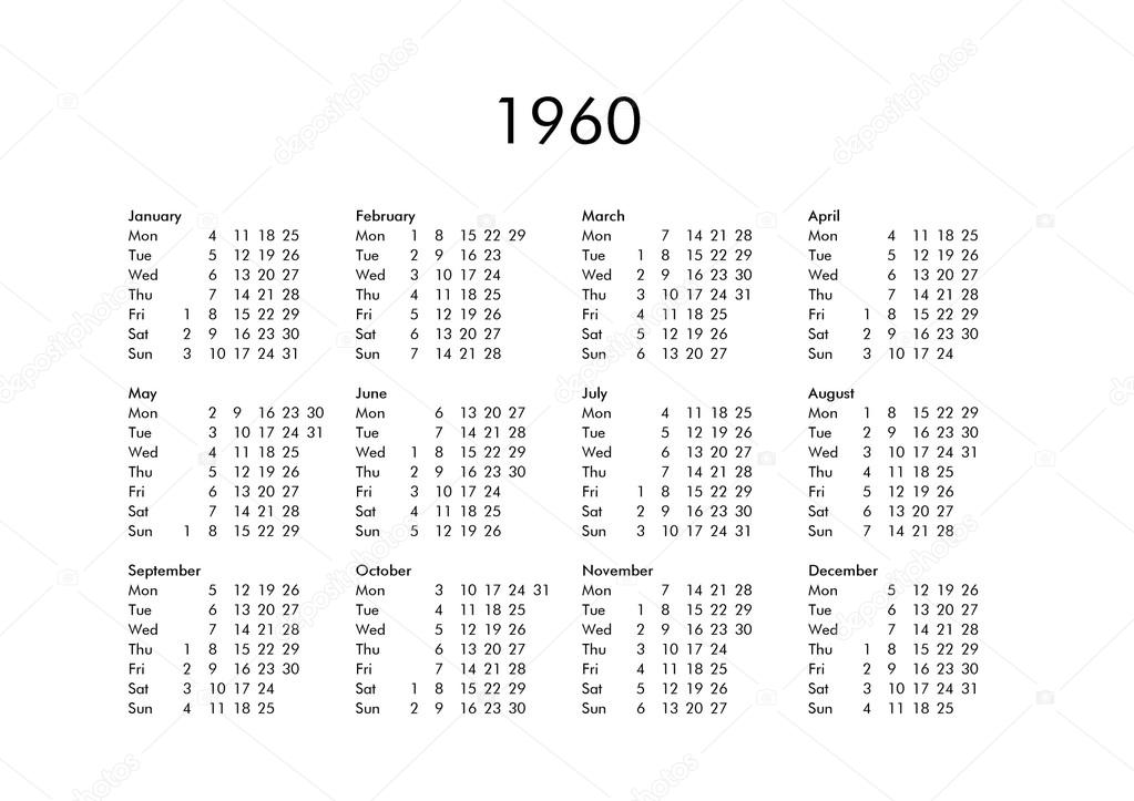 1960 Calendar.Calendar Of Year 1960 Stock Photo C Claudiodivizia 111230014