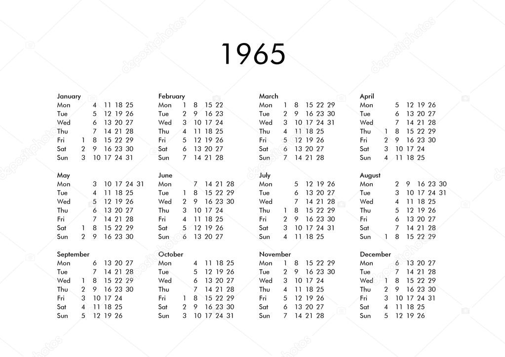 Calendario 1965.Calendar Of Year 1965 Stock Photo C Claudiodivizia 111230028