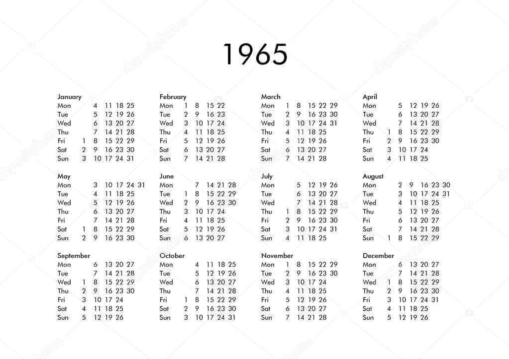 1965 évi naptár Naptári év 1965 — Stock Fotó © claudiodivizia #111230028 1965 évi naptár