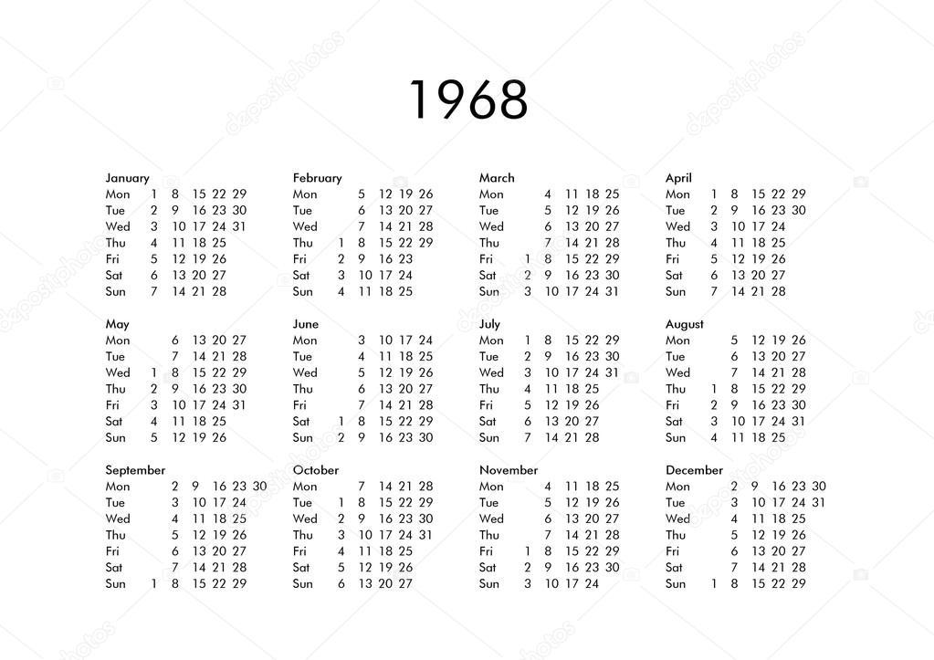 Calendario 1968.Calendario Dell Anno 1968 Foto Stock C Claudiodivizia