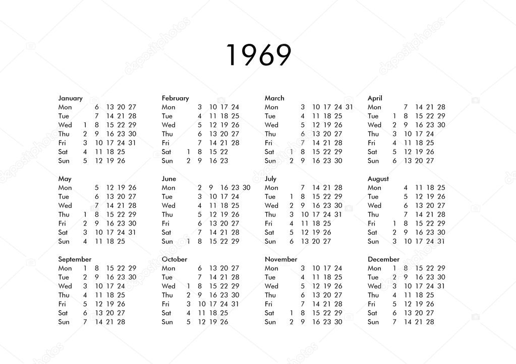 Calendar 1969.Calendar Of Year 1969 Stock Photo C Claudiodivizia 111230044