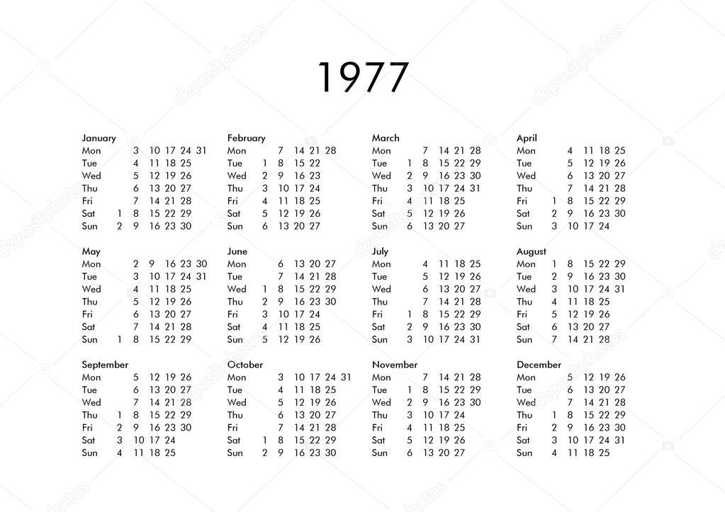 Calendario Del 1977.Calendario Del Ano 1977 Foto De Stock C Claudiodivizia
