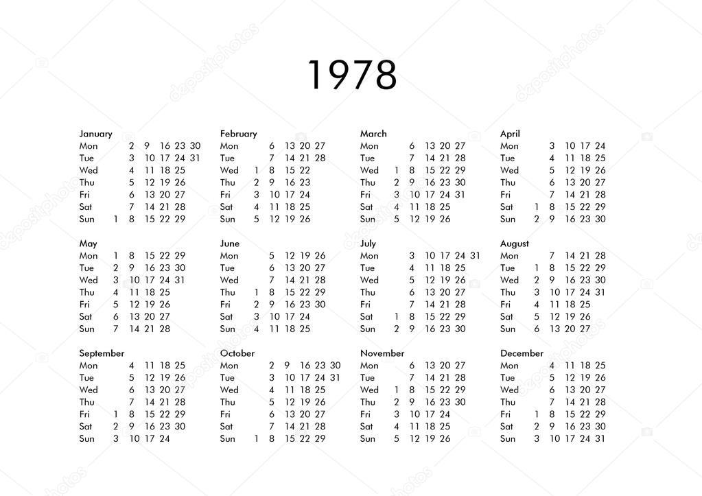 1978 Calendario.Calendario Do Ano 1978 Stock Photo C Claudiodivizia 111230068