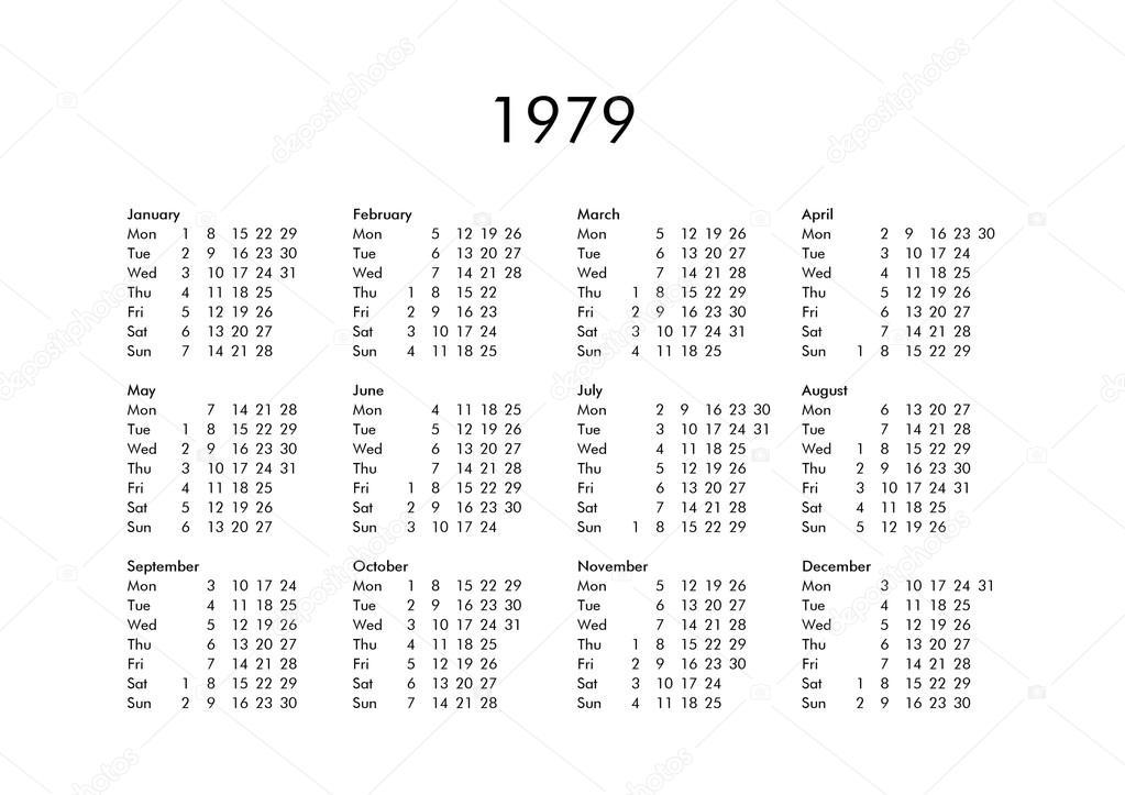 Calendario Del 1979.Calendario Del Ano 1979 Foto De Stock C Claudiodivizia