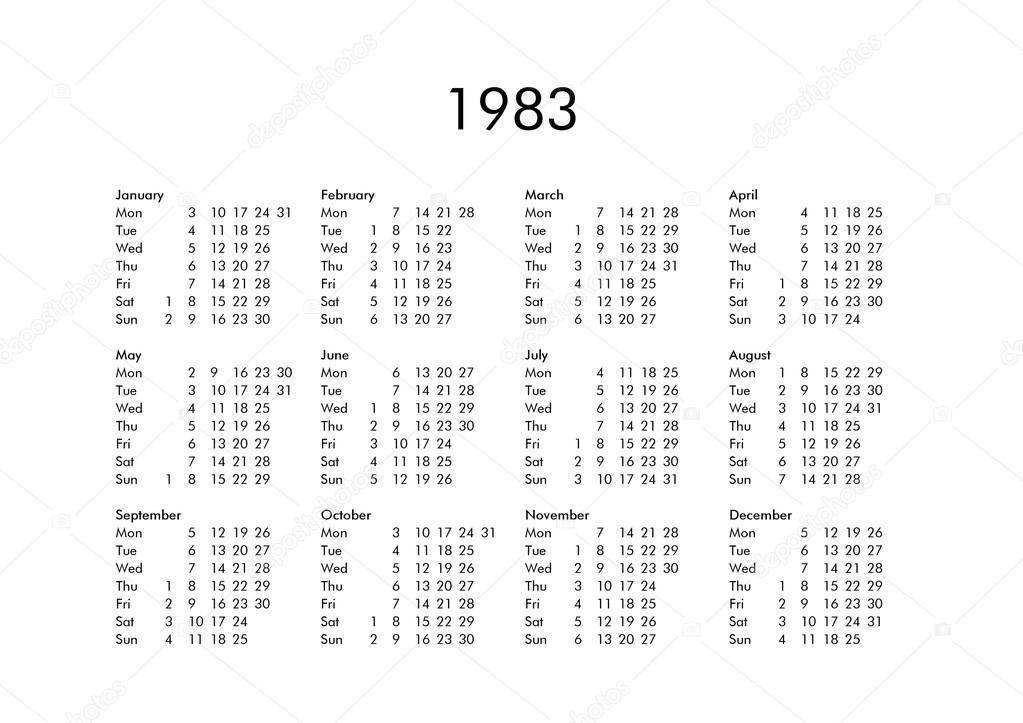 1983 年のカレンダー ストック写真 claudiodivizia 111230084