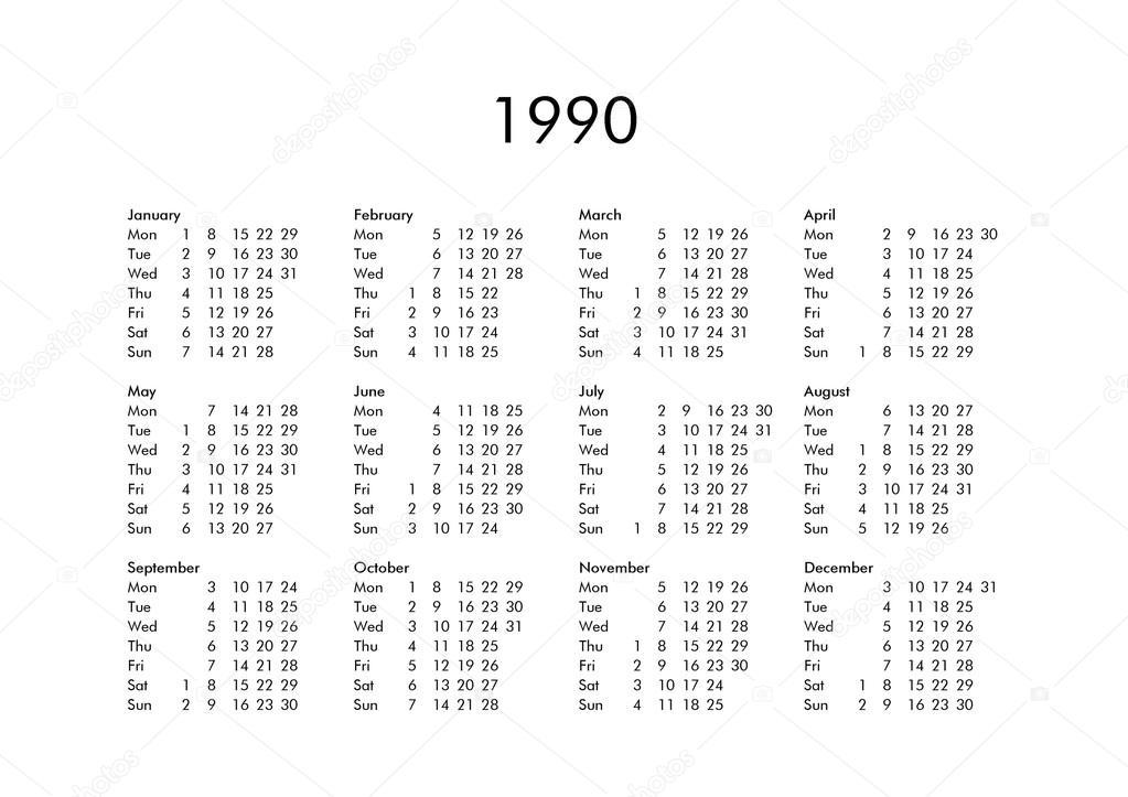 1990 Calendar.Calendar Of Year 1990 Stock Photo C Claudiodivizia 111230108