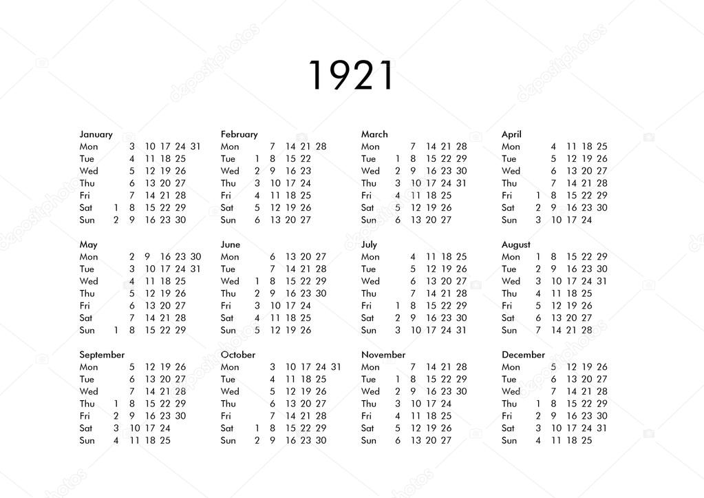 Calendario 1921.Calendar Of Year 1921 Stock Photo C Claudiodivizia 112901732