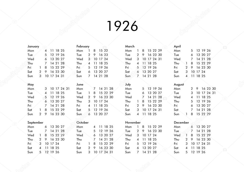 Calendario 1926.Calendar Of Year 1926 Stock Photo C Claudiodivizia 112901744