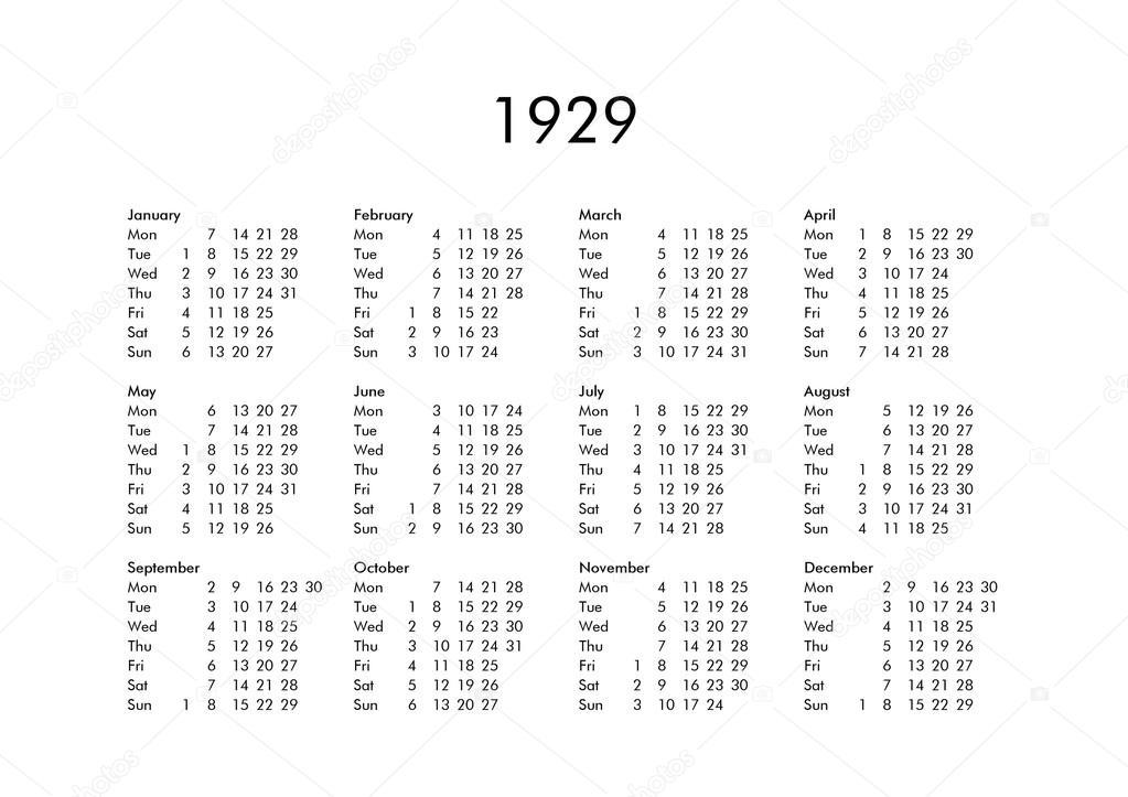 Calendario 1929.Calendar Of Year 1929 Stock Photo C Claudiodivizia 112901758