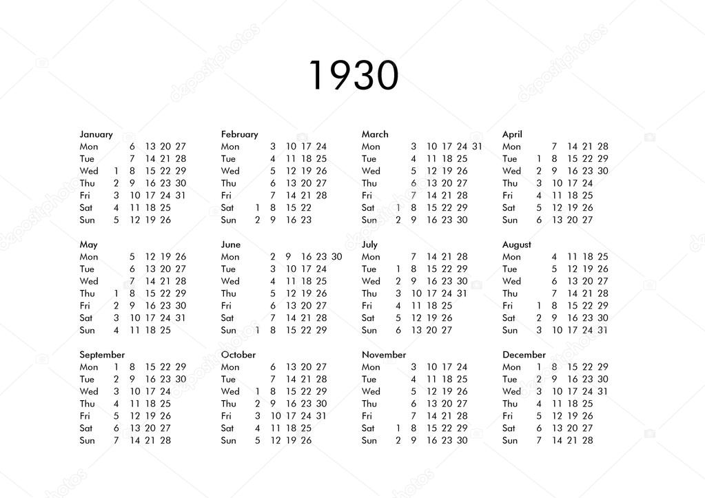 Calendario 1930.Calendar Of Year 1930 Stock Photo C Claudiodivizia 112901762