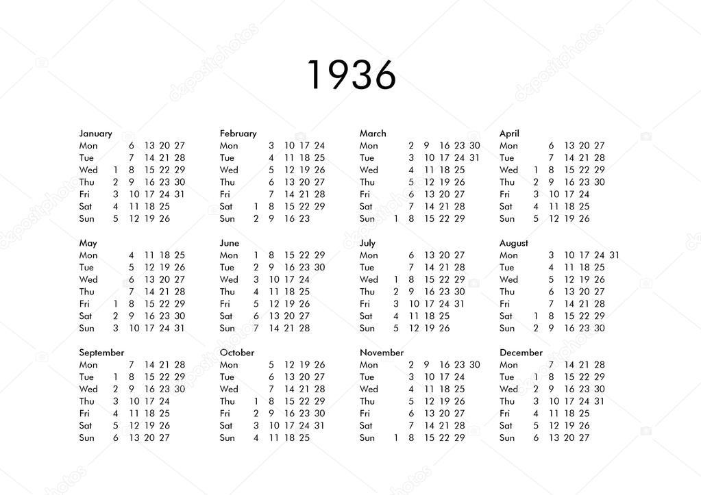 Calendario 1936.Calendar Of Year 1936 Stock Photo C Claudiodivizia 112901780