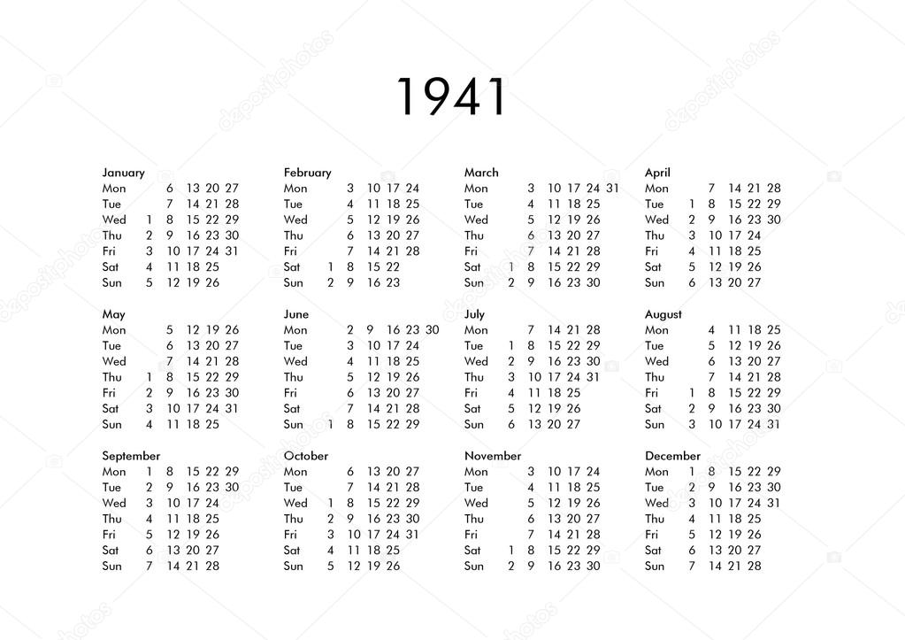 Calendrier 1941.Calendrier De L Annee 1941 Photographie Claudiodivizia