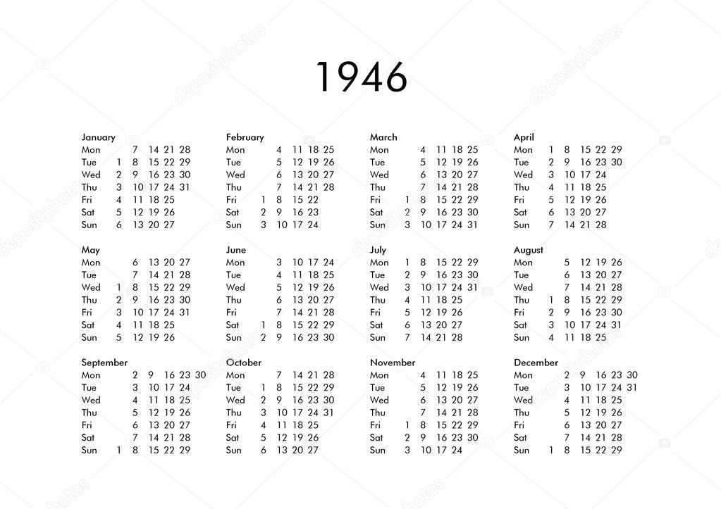Calendario 1946.Calendar Of Year 1946 Stock Photo C Claudiodivizia 112901810