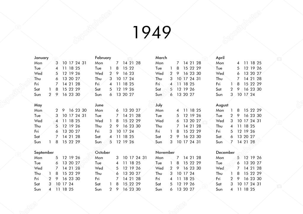 Calendario 1949.Calendar Of Year 1949 Stock Photo C Claudiodivizia 112901824