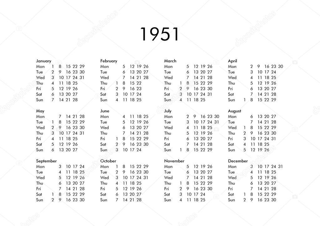 Calendario 1951.Calendario Do Ano 1951 Stock Photo C Claudiodivizia 112901834