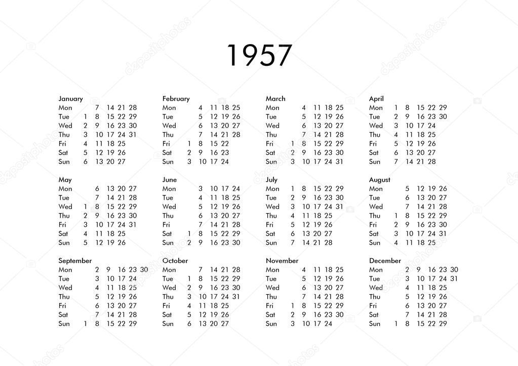 Calendario Del Ano 1957.Calendario Del Ano 1957 Foto De Stock C Claudiodivizia