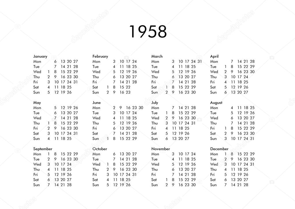 Calendario 1958.Calendar Of Year 1958 Stock Photo C Claudiodivizia 112901860