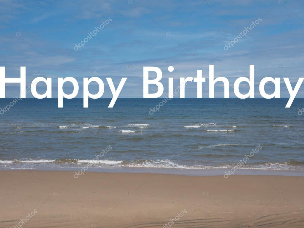 Happy Birthday On The Beach Stock Photo