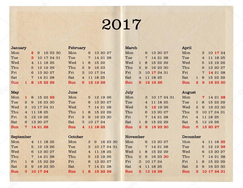 Calendario Anno 2017.Calendario Anno 2017 Regno Unito Foto Stock