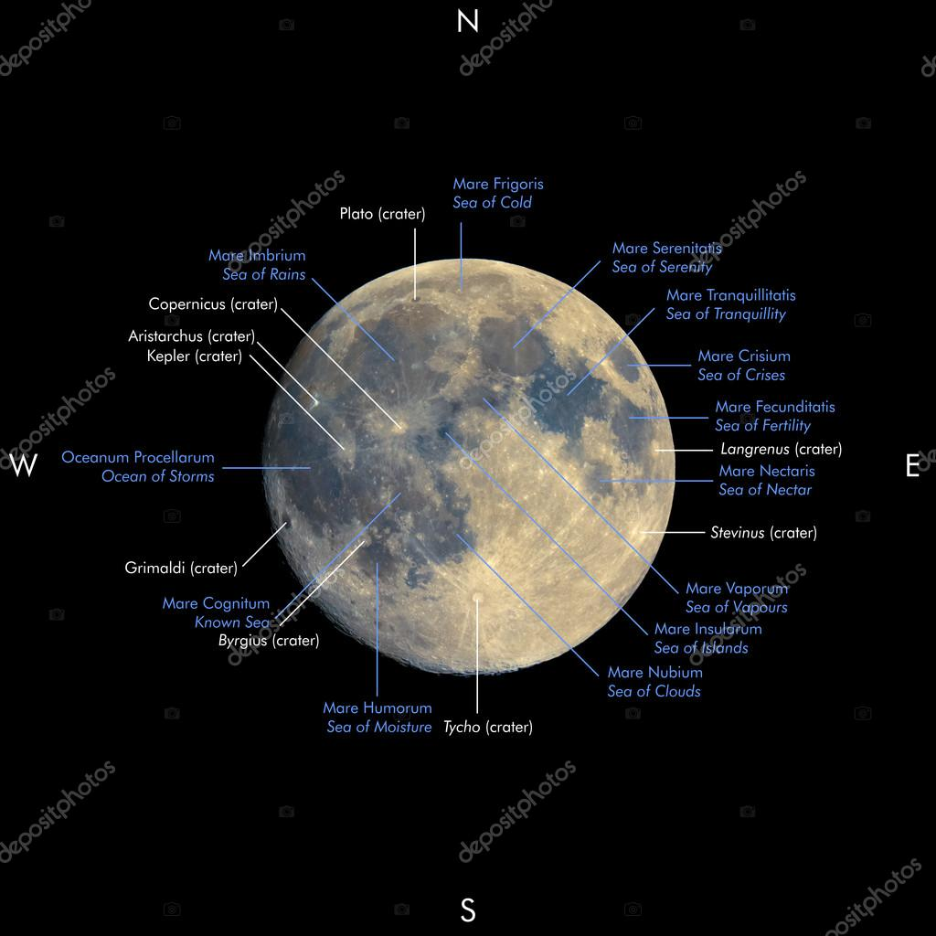 Full moon map, enhanced colours, names in Latin and English ...