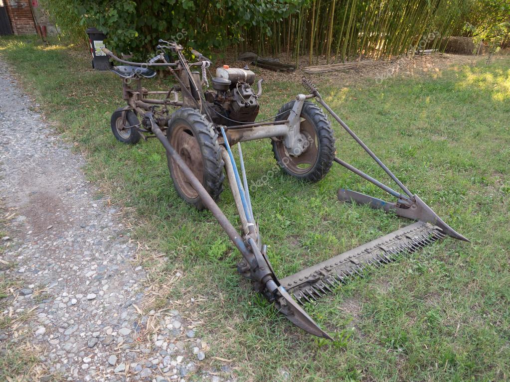 vintage bcs 622 lawn mower in milan stock editorial photo