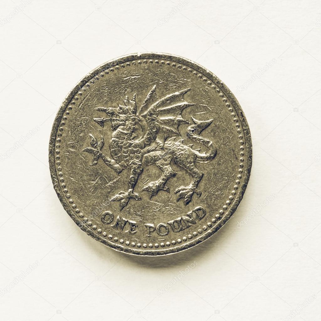 Vintage Großbritannien 1 Pfund Münze Stockfoto Claudiodivizia